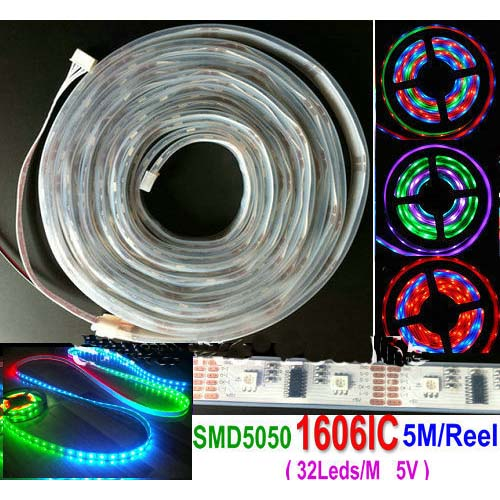 HL1606 IC 5M Roll RGB LED Digital Strip (32 LEDs/M)