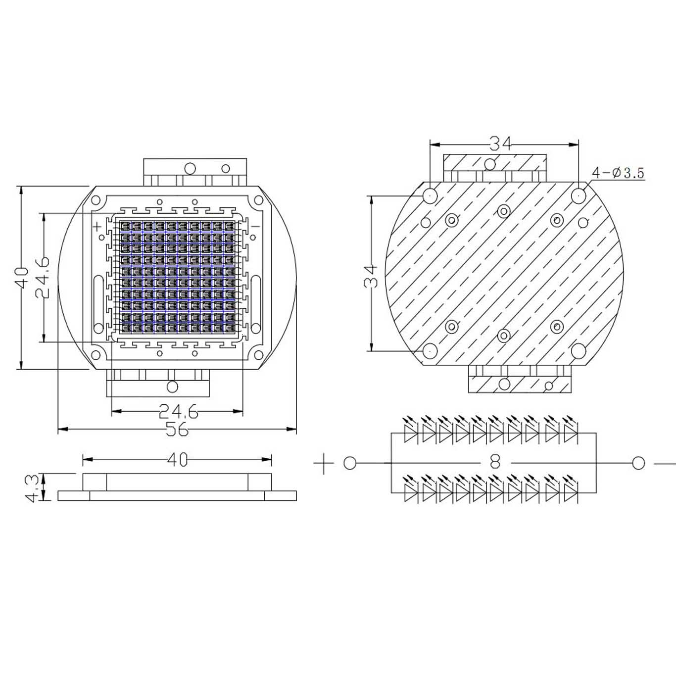 High Power Led Modules Cob Moduleepistar Hign Output Wire Diagram 100w 850nm Integrated